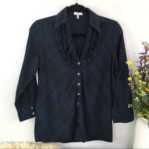 Joie cotton plaid ruffle grill neckline button up